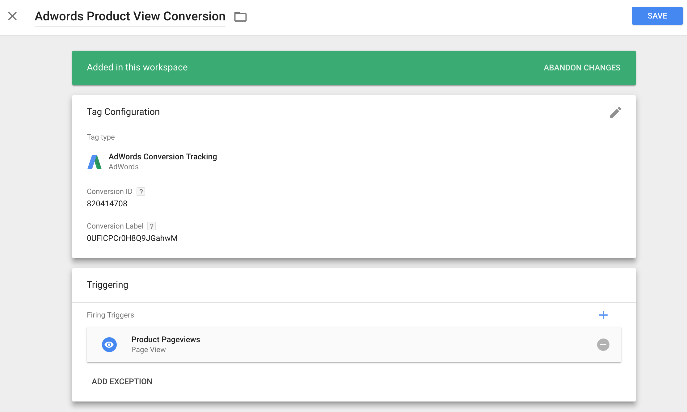 adwords gtm conversion for product views