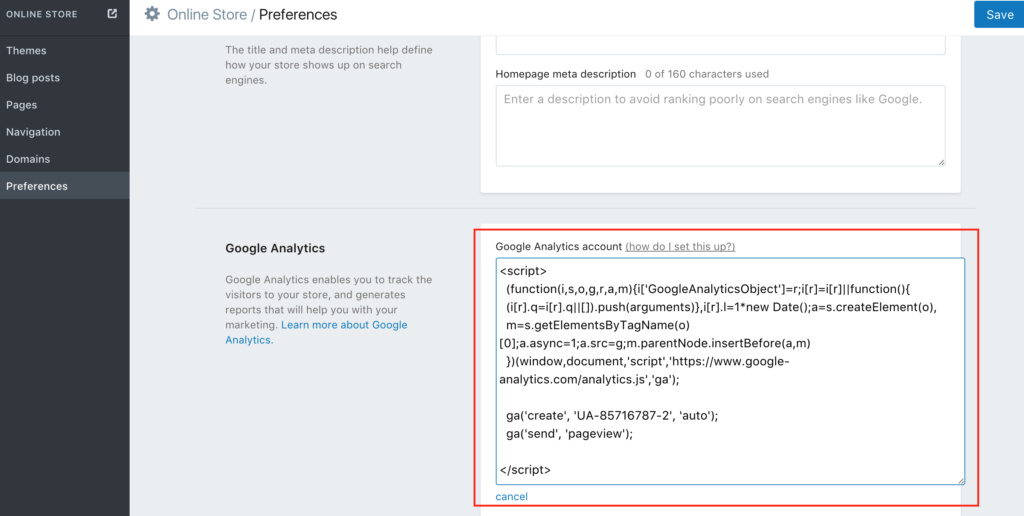 Google Analytics in Shopify