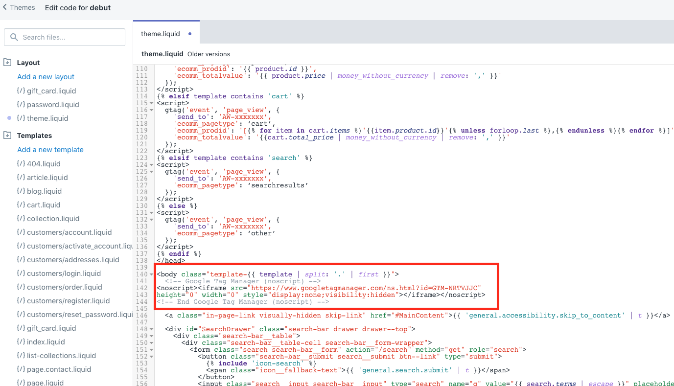 install gtm noscript in shopify body