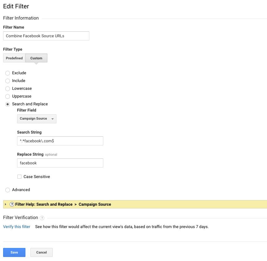 Facebook GA Source Filter