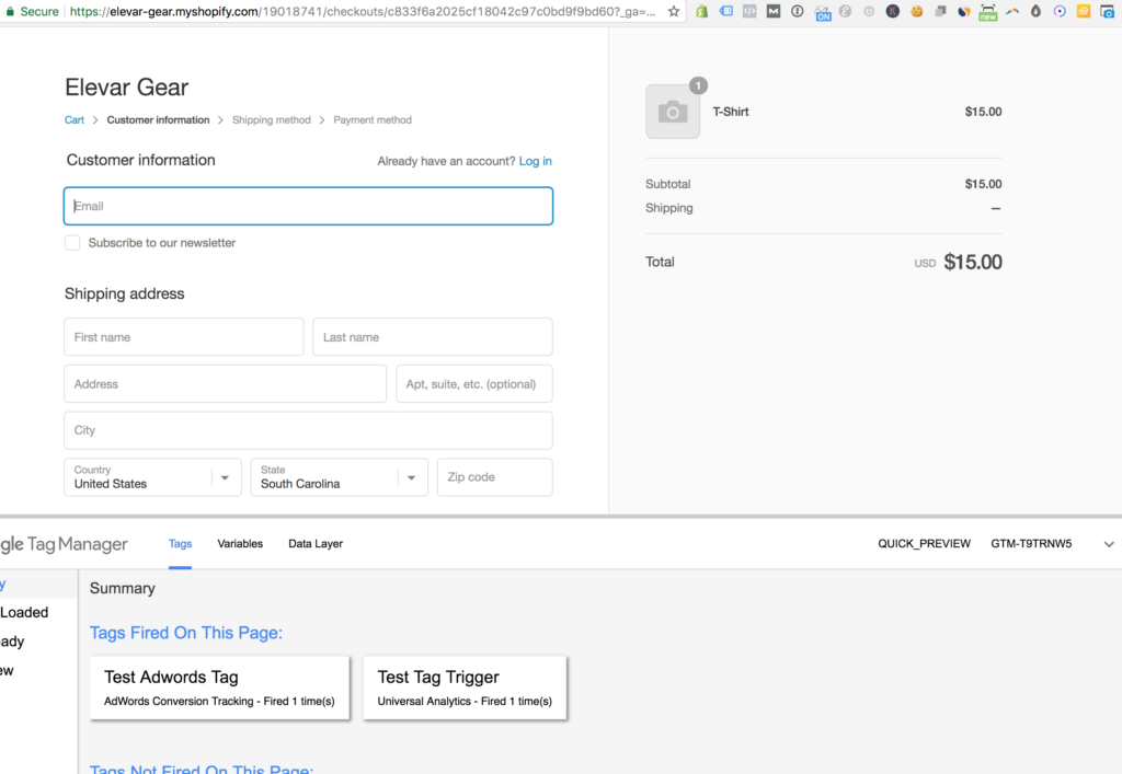 Shopify GTM Checkout Pages
