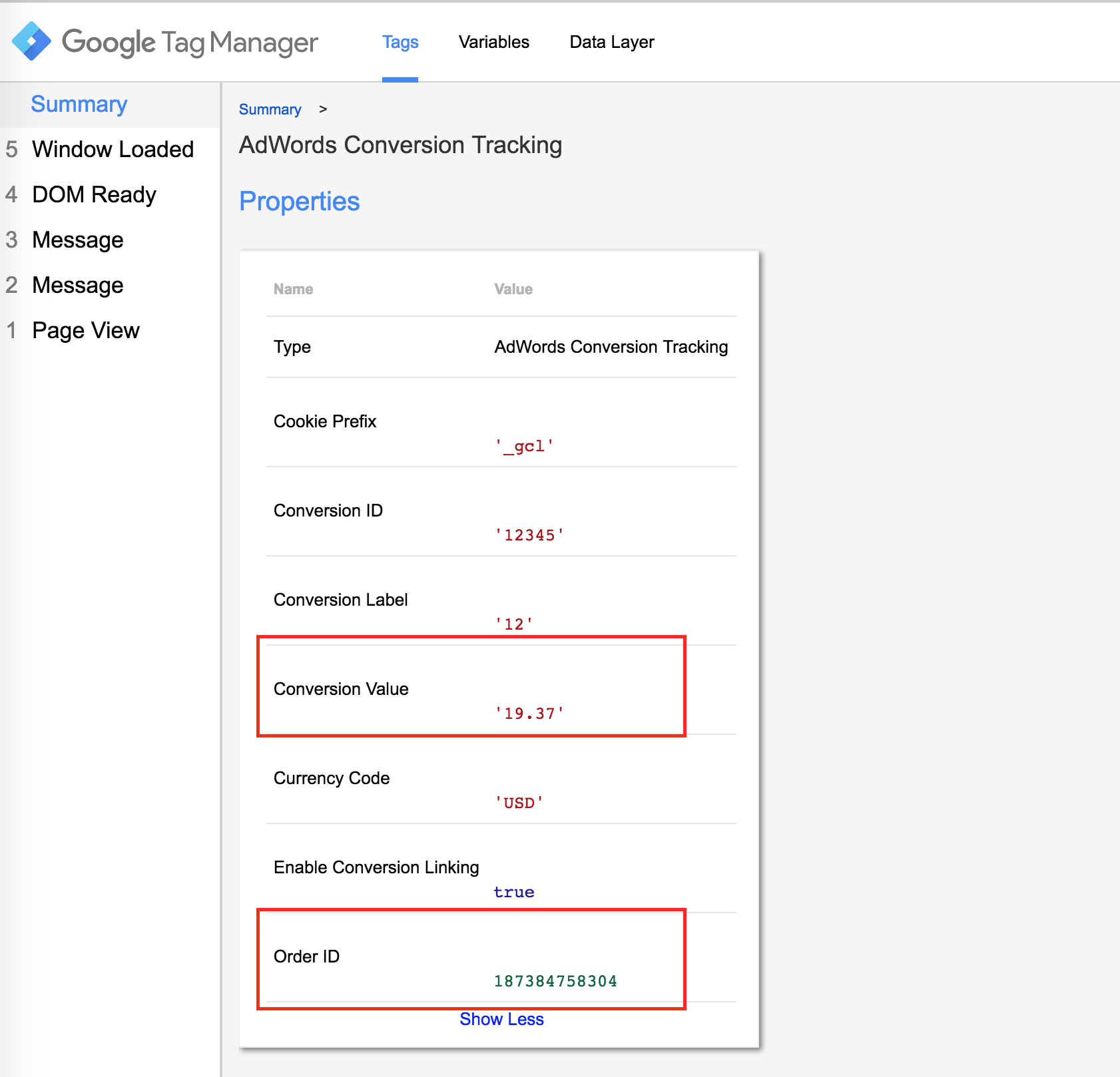 AdWords variable example