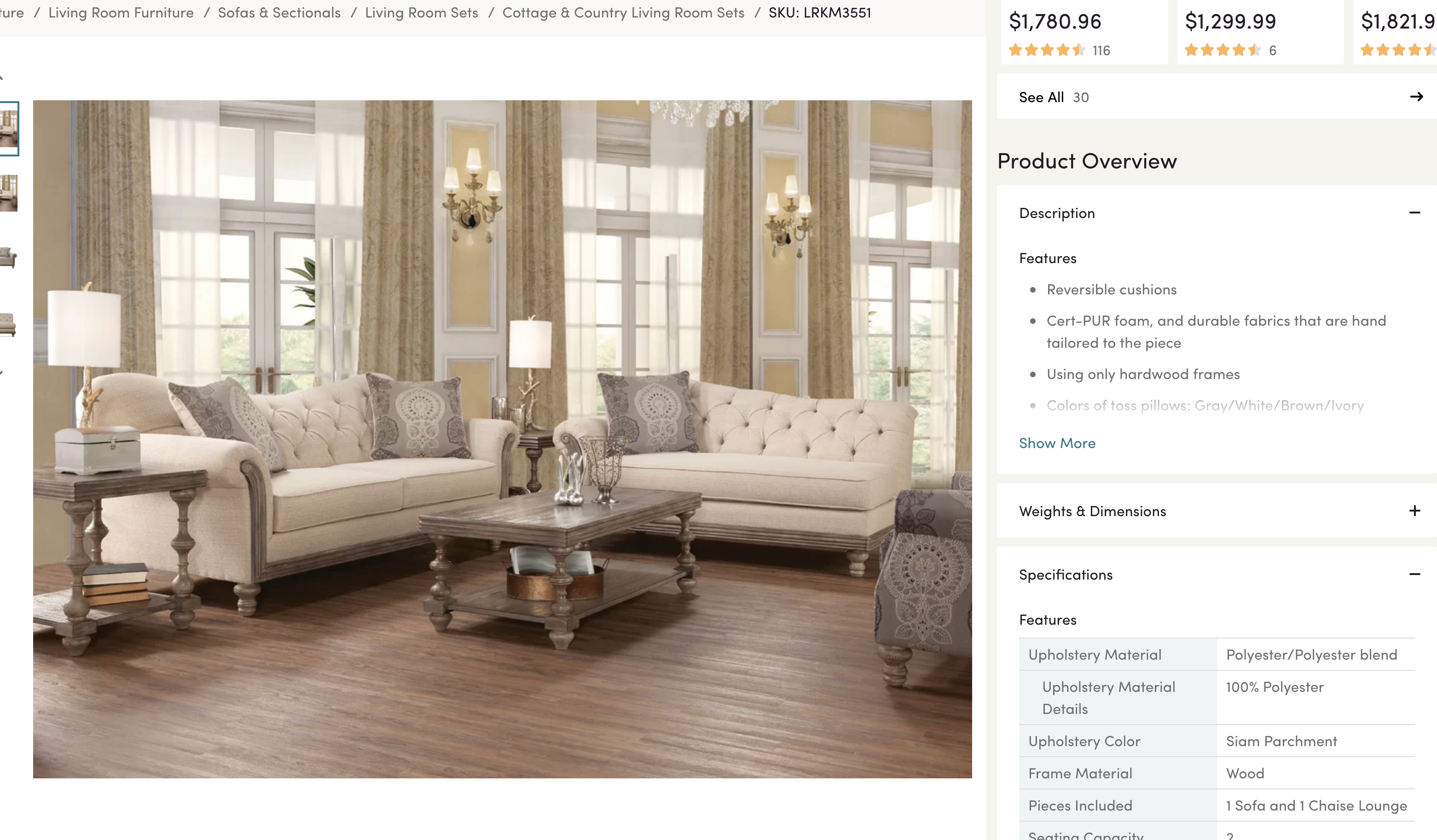 Wayfair product specs