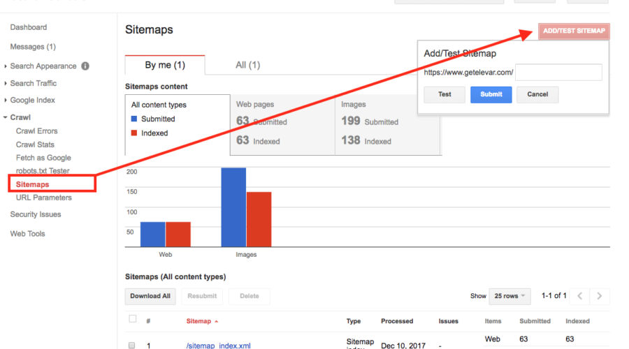 add sitemap to search console elevar