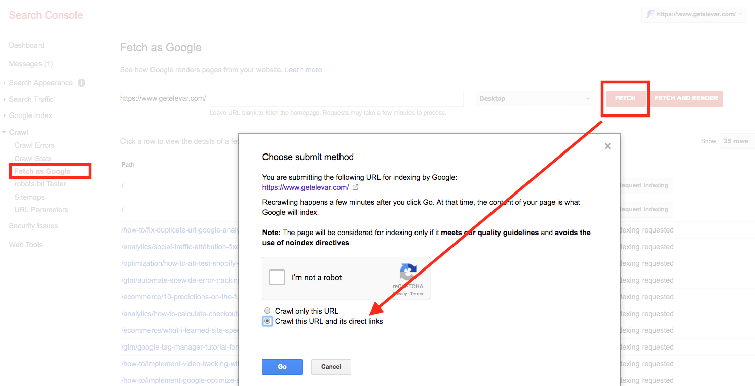 fetch as google in search console