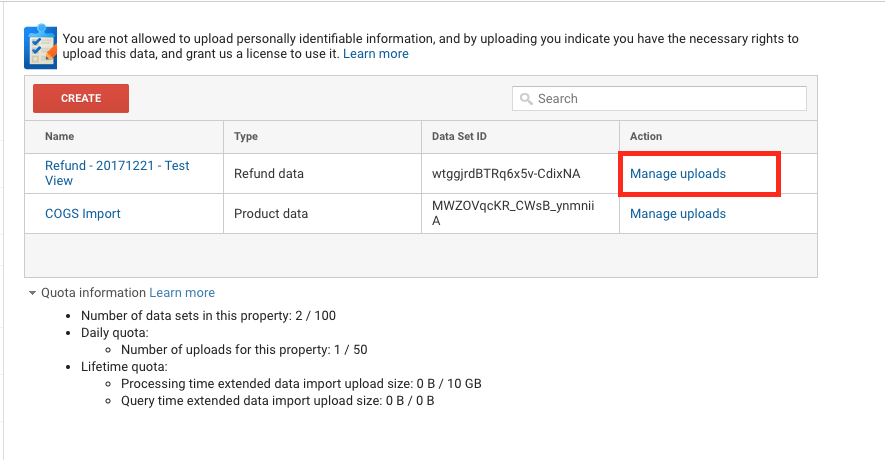 google analytics manage uploads data import