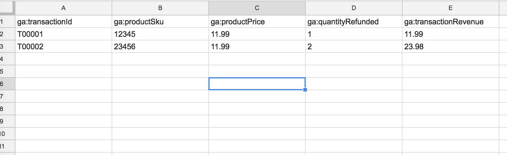 partial refund import to google analytics