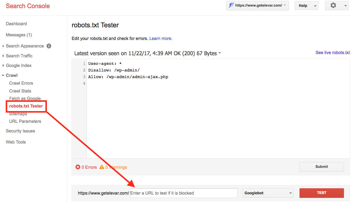 robots.txt tester for search console