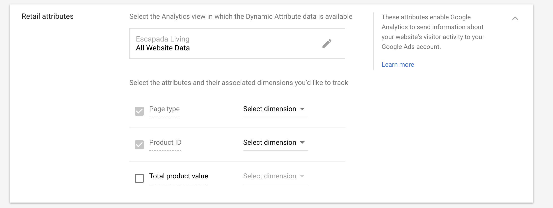 adwords google analytics retail attributes