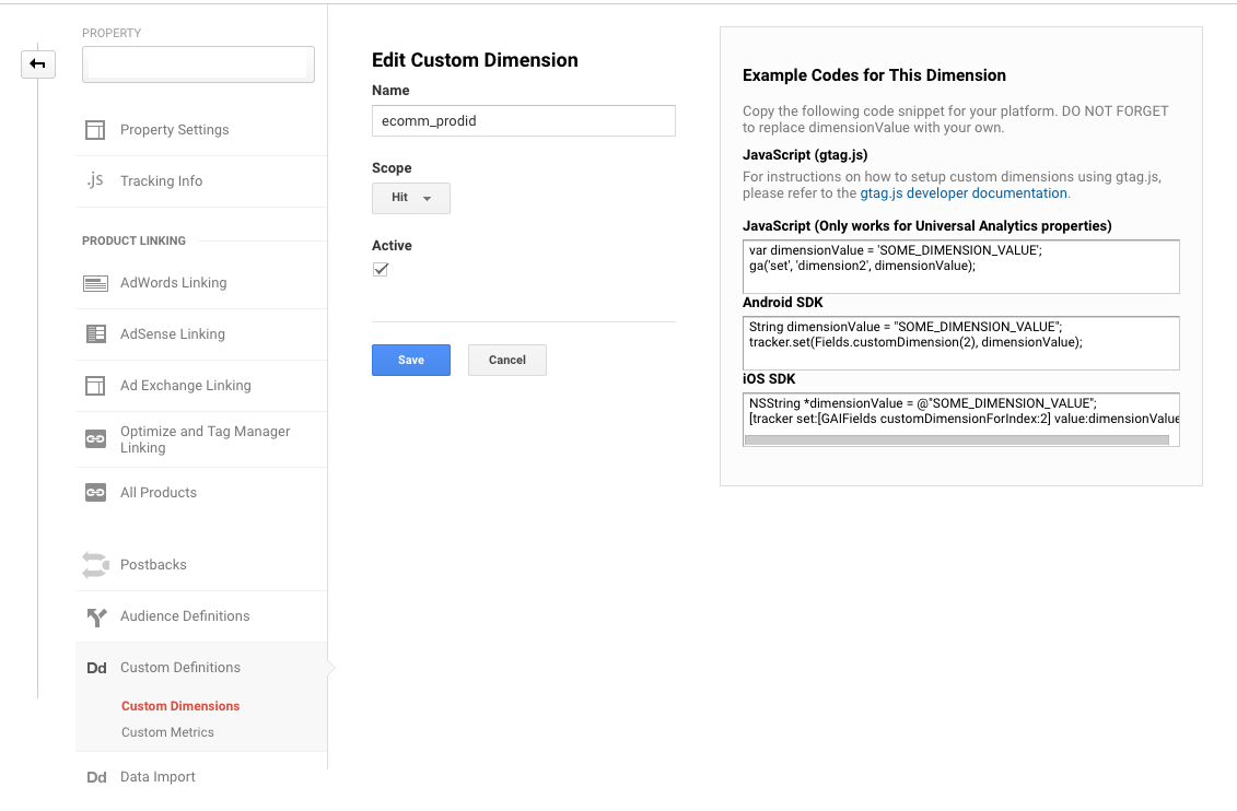 google analytics remarketing custom dimensions