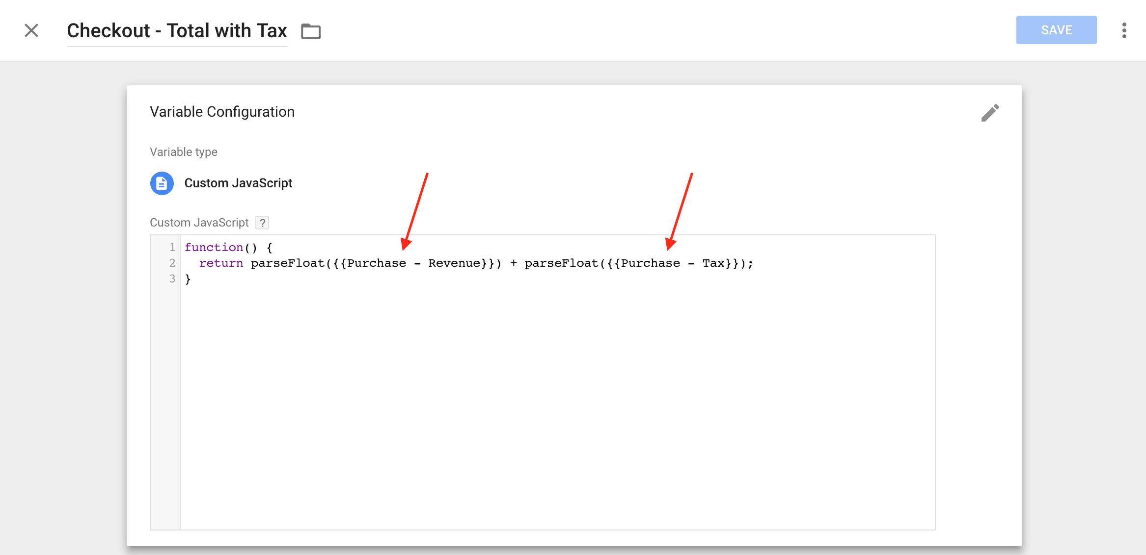 custom javascript variable sum
