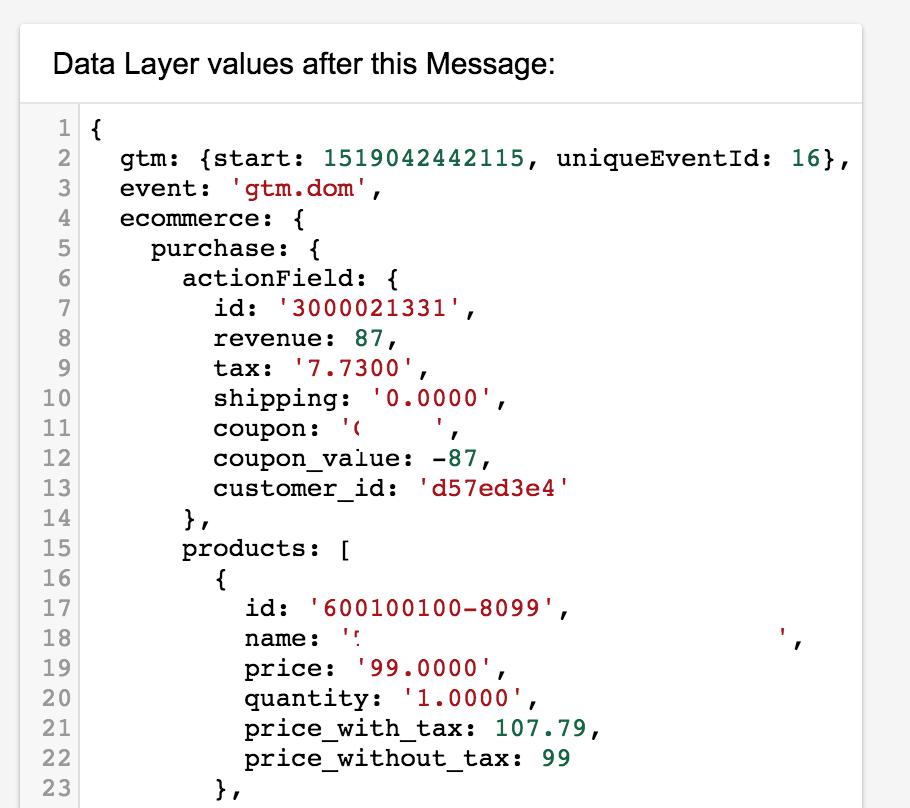 ecommerce data layer