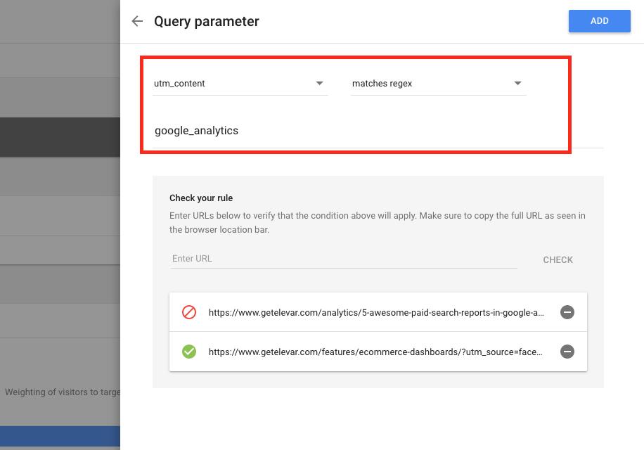 google optimize query parameter setup utm_content
