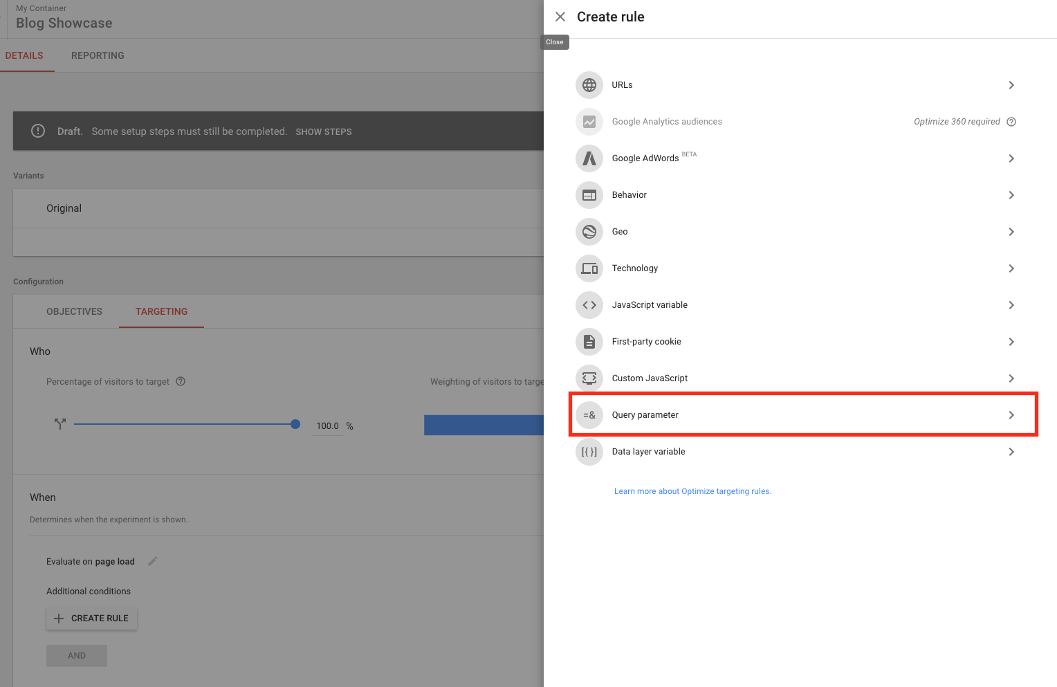 google optimize query targeting rule