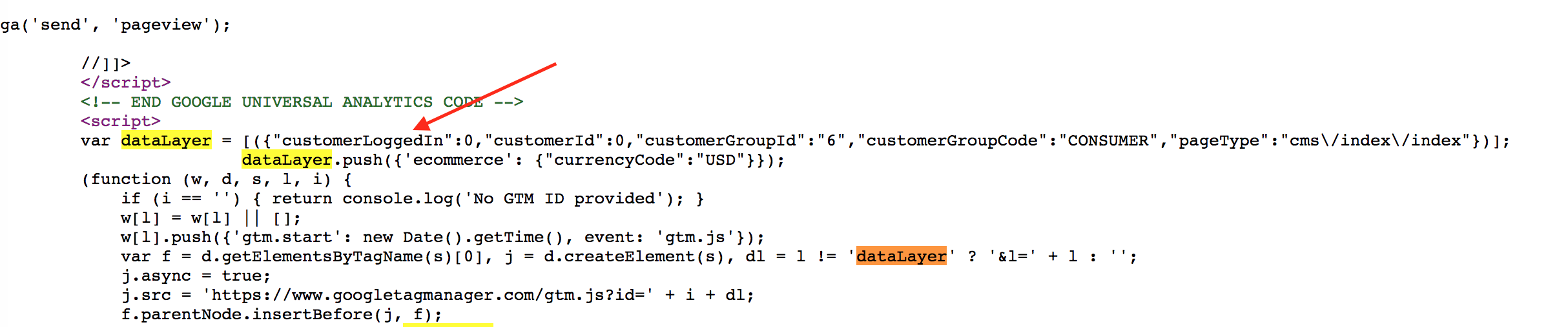 magento customer status data layer v2