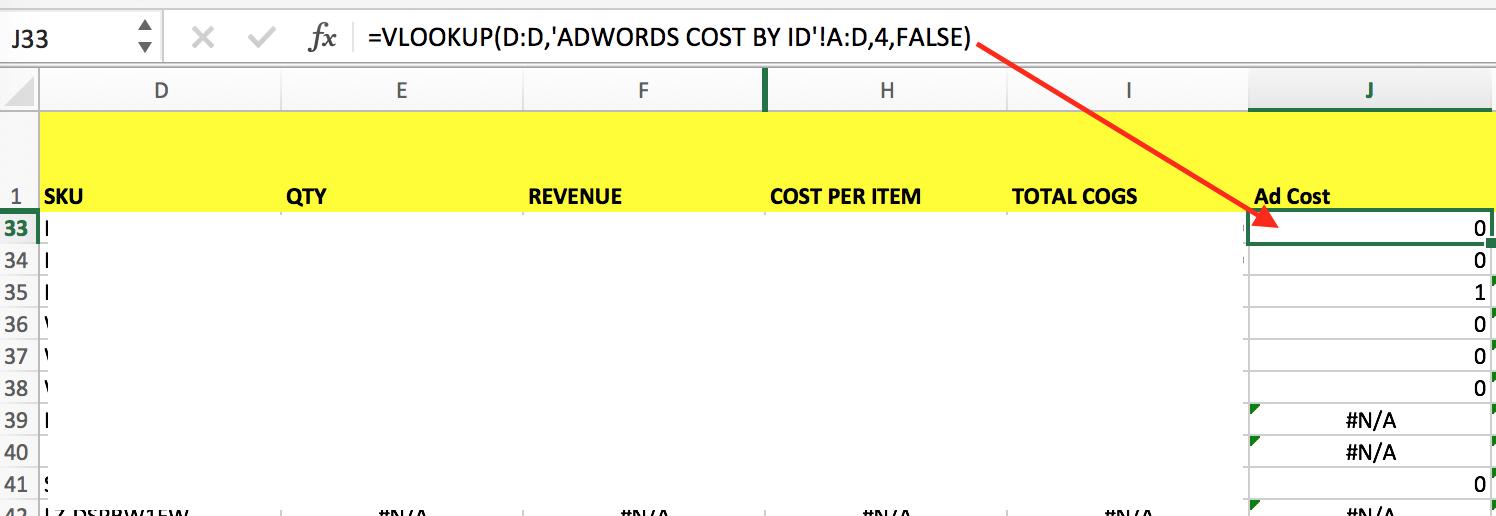 ad cost column