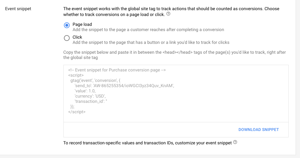 gtag conversion event snippet