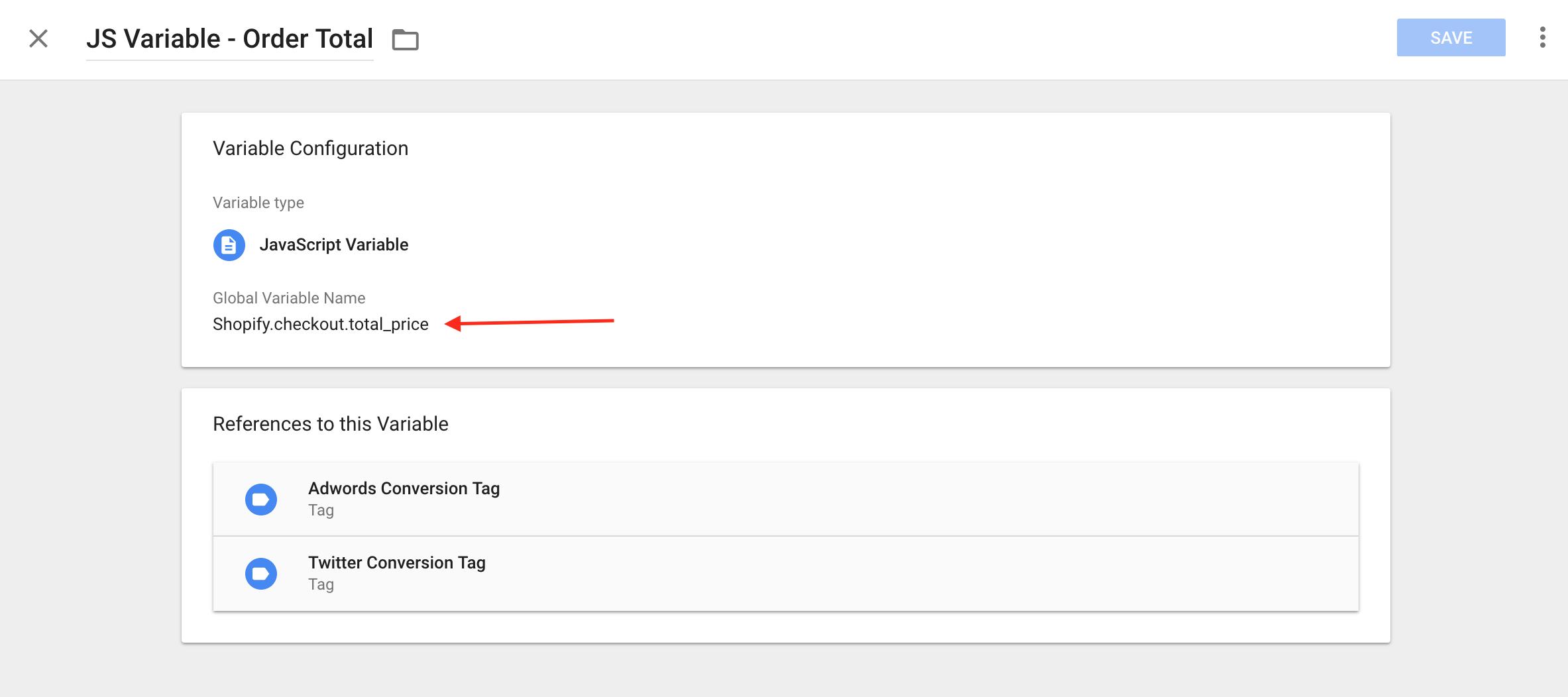 js variable for shopify order total