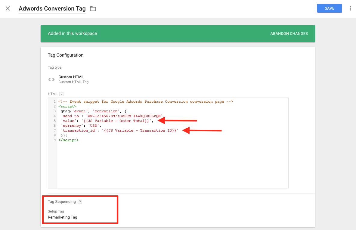 shopify adwords gtag with setup tag