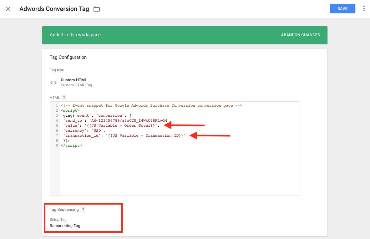 shopify adwords gtag with setup tag