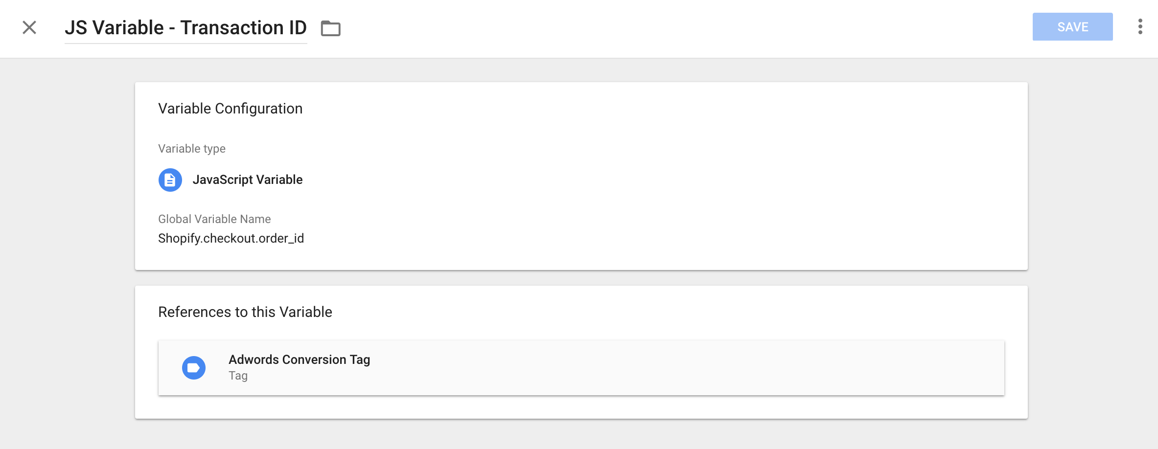shopify transaction id custom js gtm variable