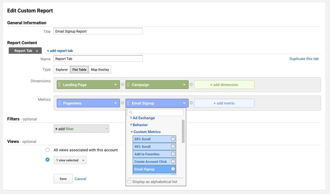 custom metric report creation in google analytics