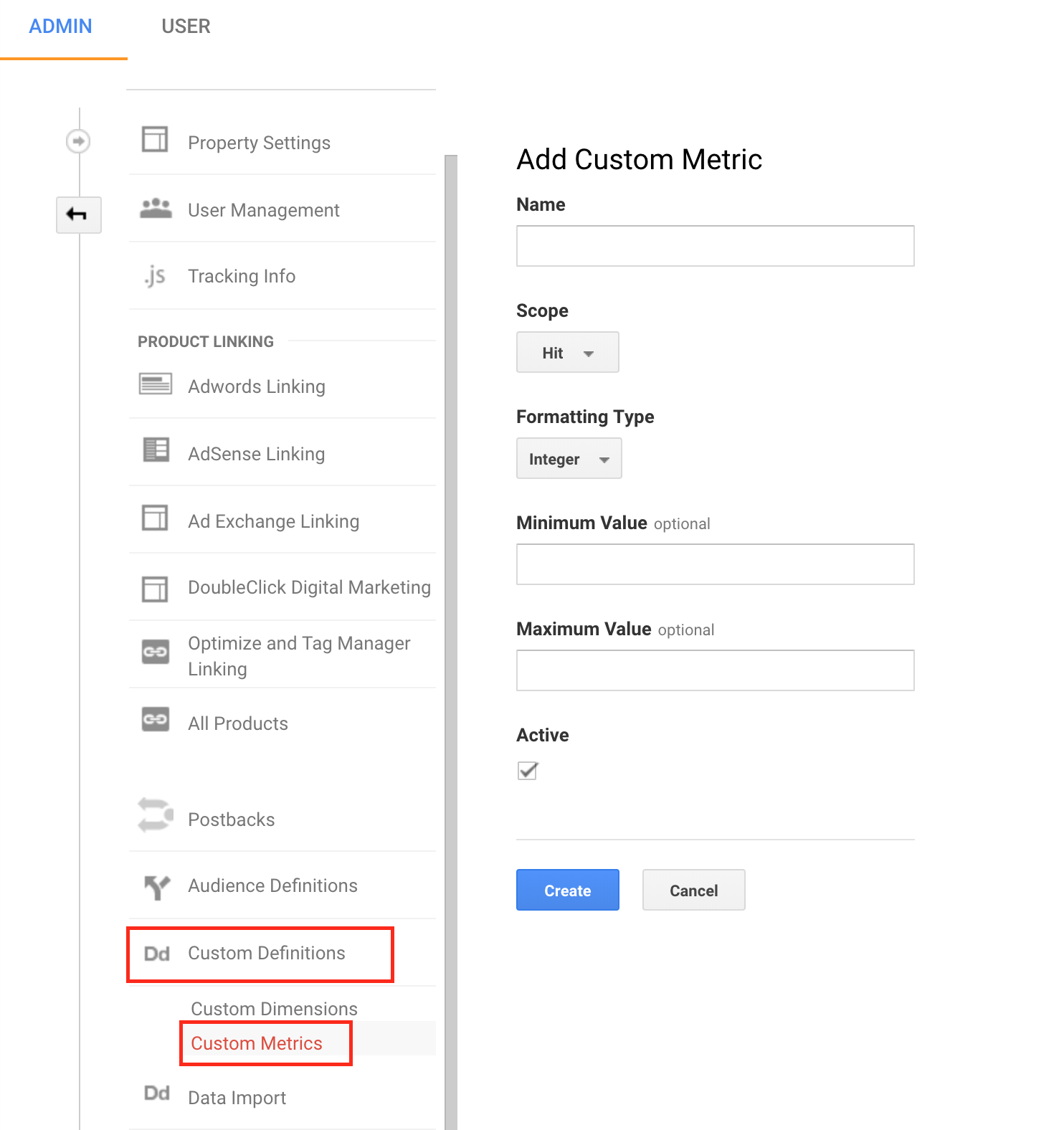 custom metrics in google analytics