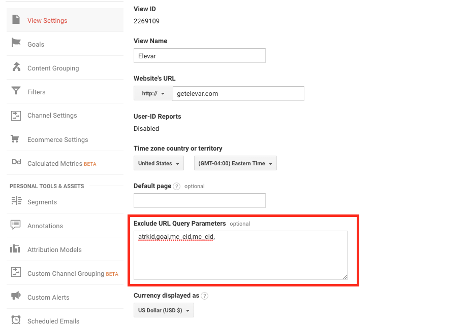 exclude url query parameter setting