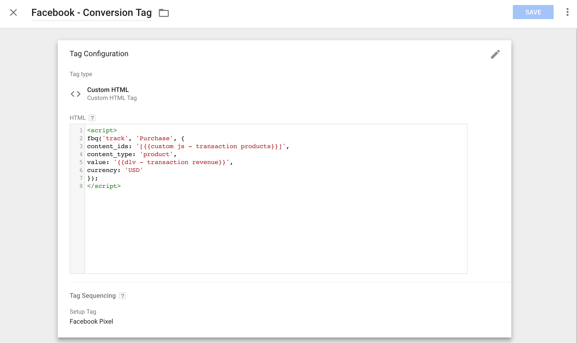 facebook conversion tag in google tag manager