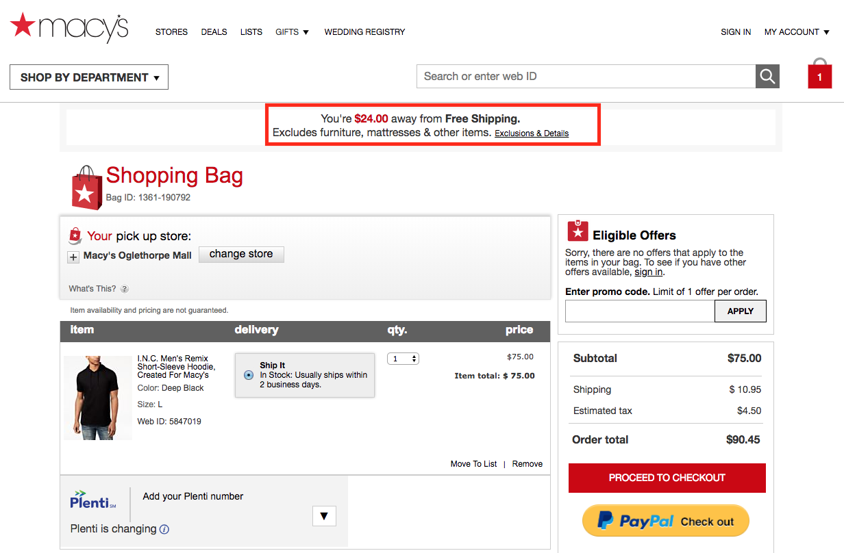 free shipping threshold in cart
