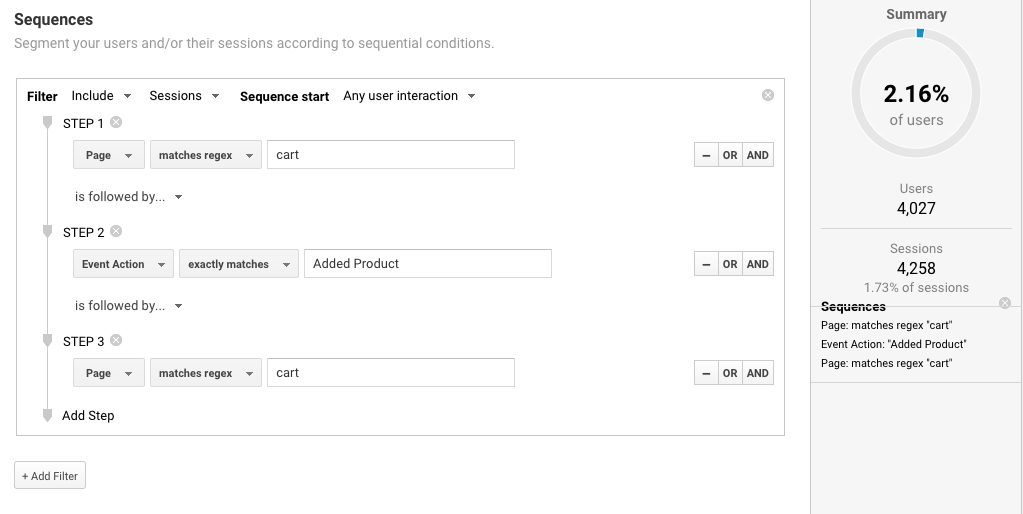 how to create sequence segment in google analytics