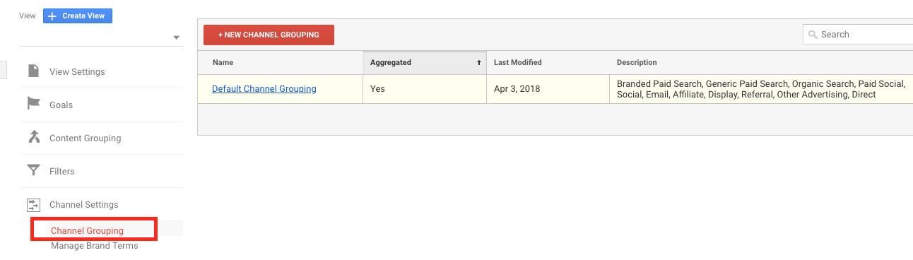 channel grouping settings in google analytics