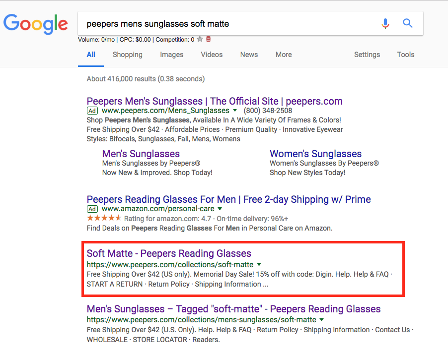 duplicate content for ecommerce example in serp
