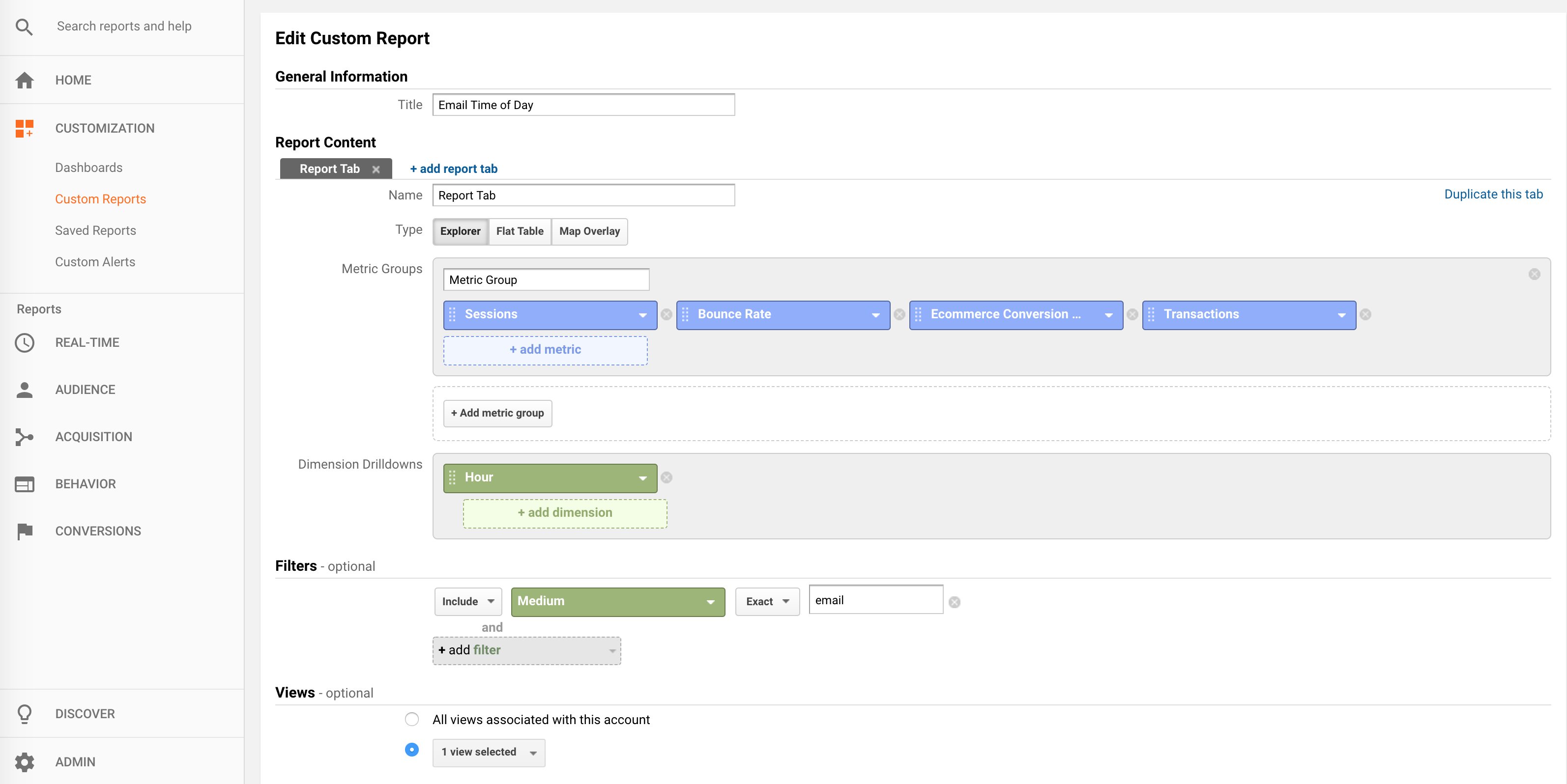 google analytics custom report creation for email time of day