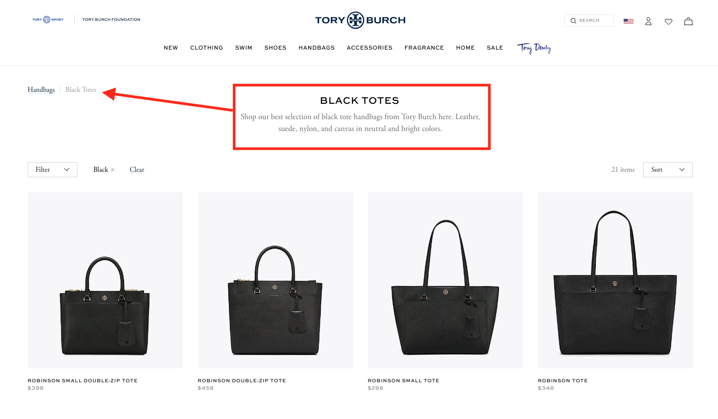 revised tory burch category page