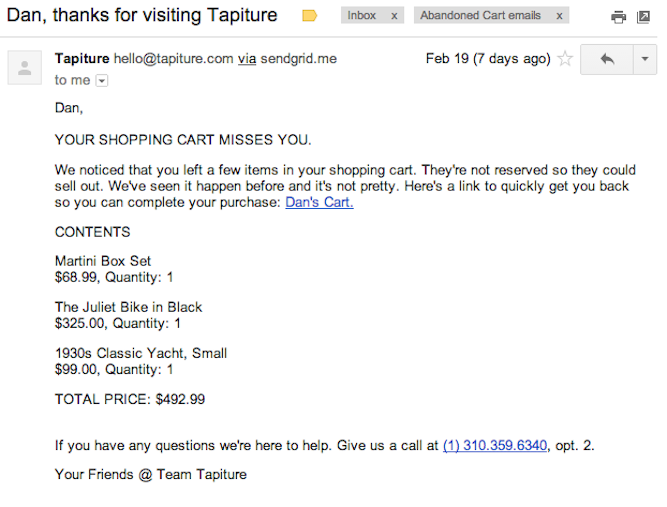 tapiture abandoned cart email