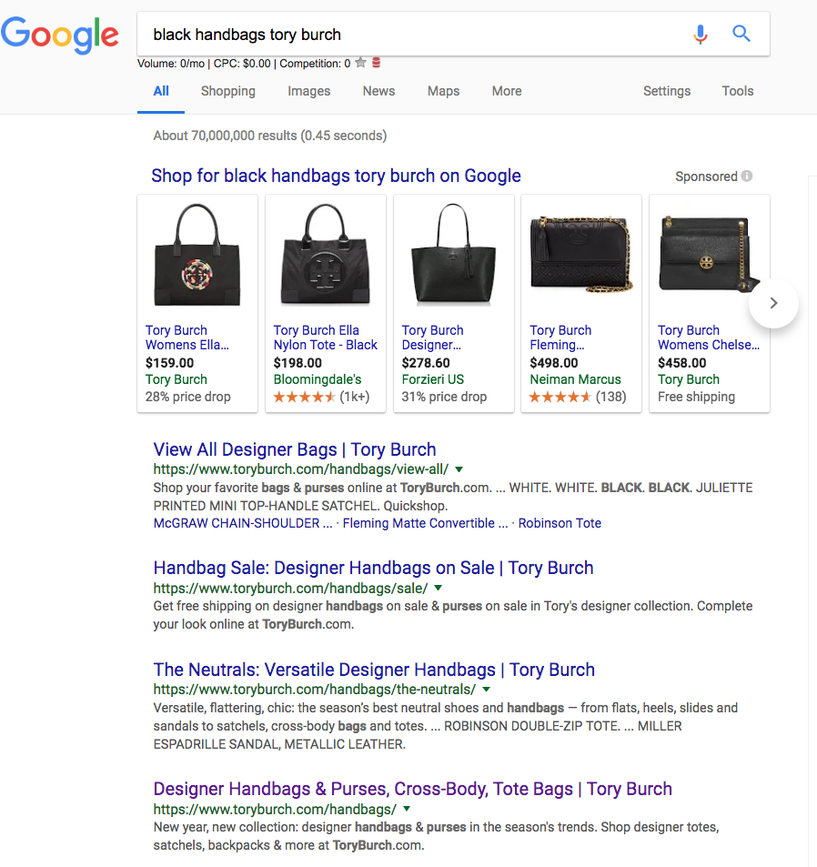 tory burch black handbag serp