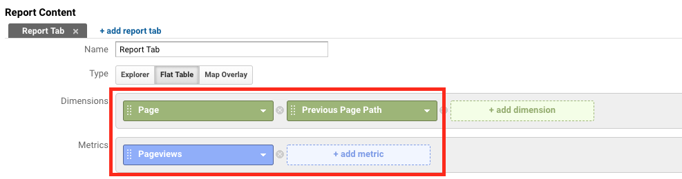 dimension and metrics for next page path report