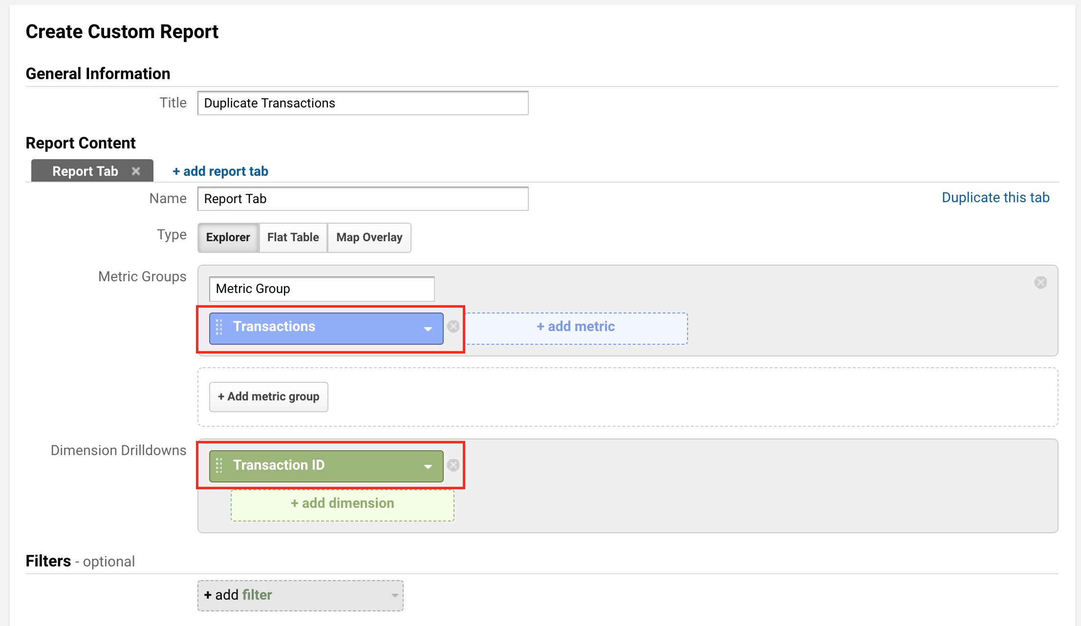 duplicate transaction report in google analytics