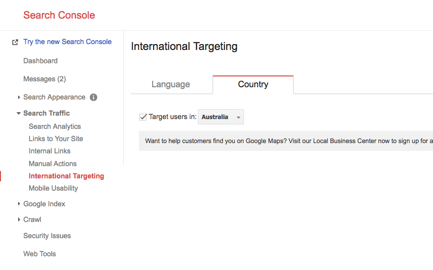 search console international targeting