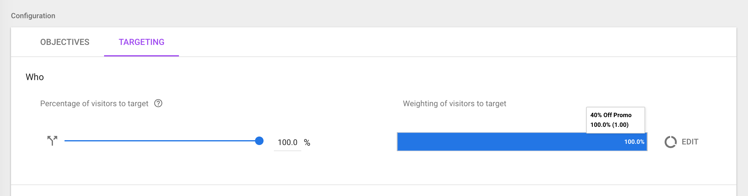 100 percent targeting google optimize