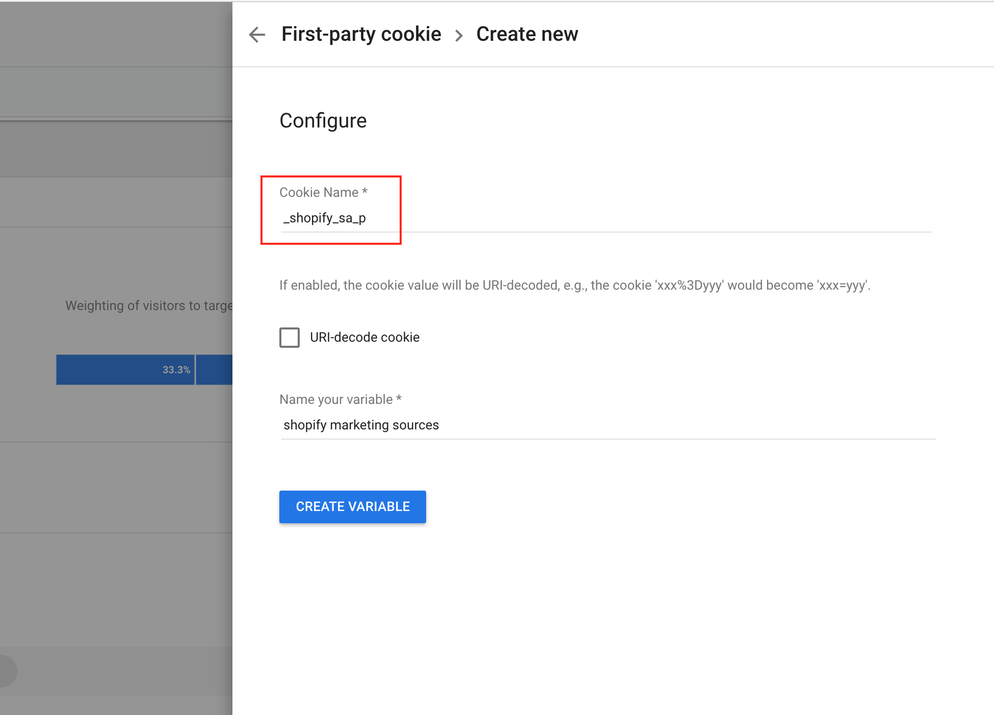 create first party cookie for shopify google optimize