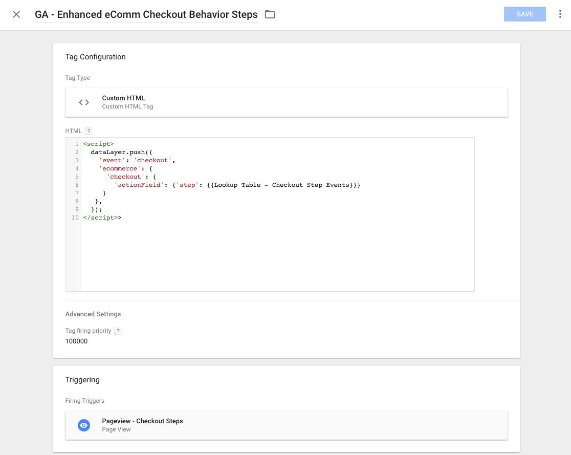 checkout behavior gtm datalayer
