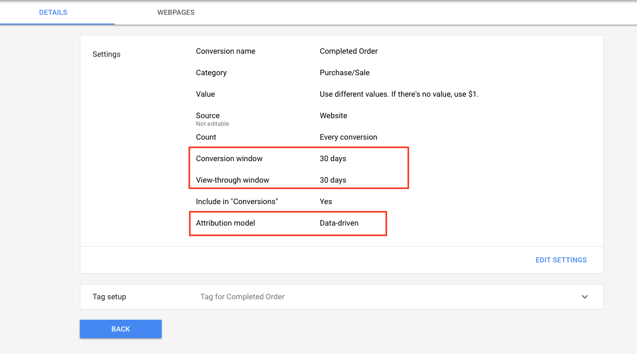 adwords conversion setting with windows