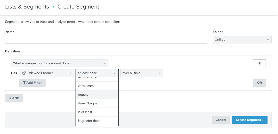 create segment in klaviyo