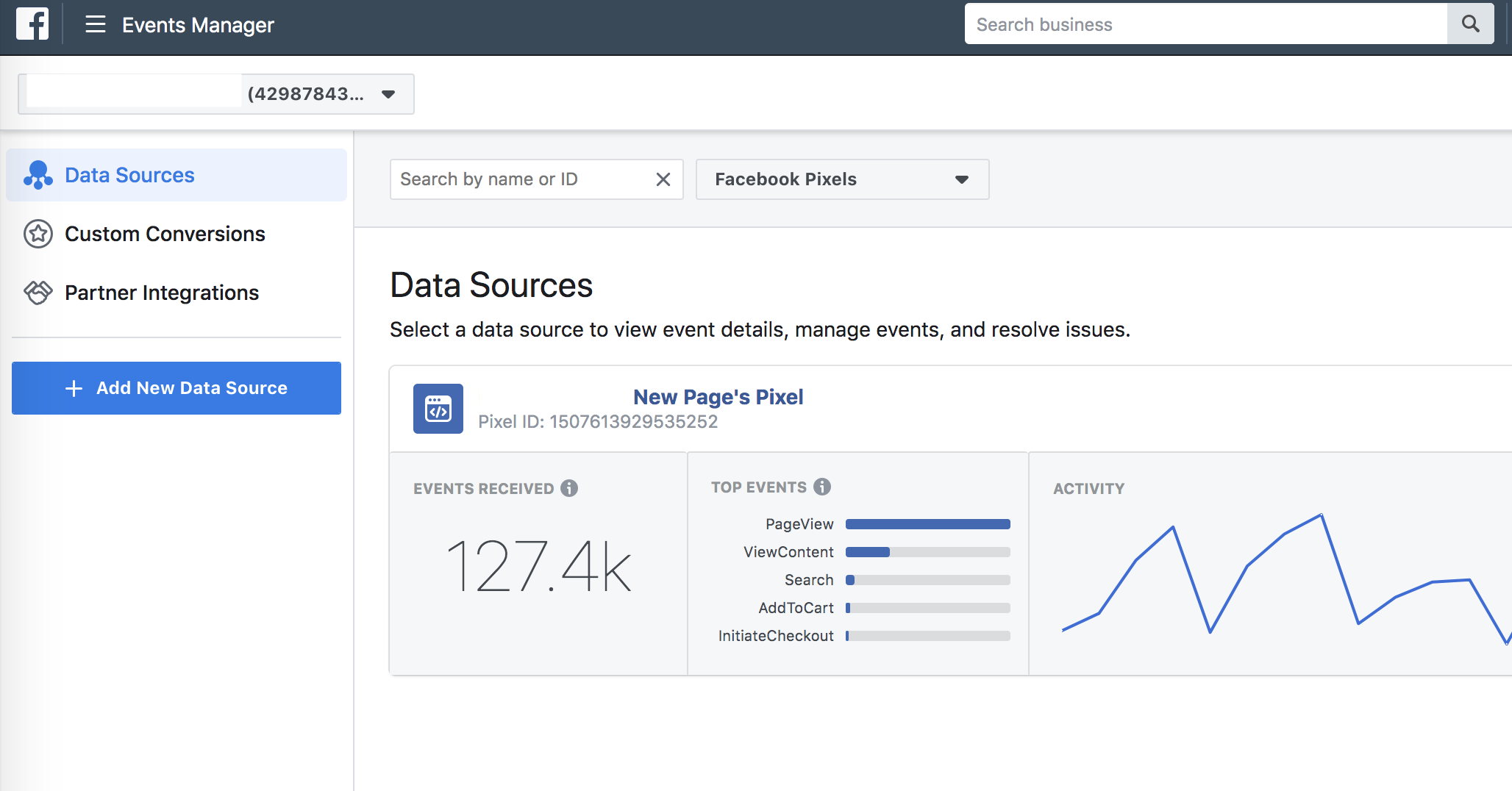 facebook data source pixel events