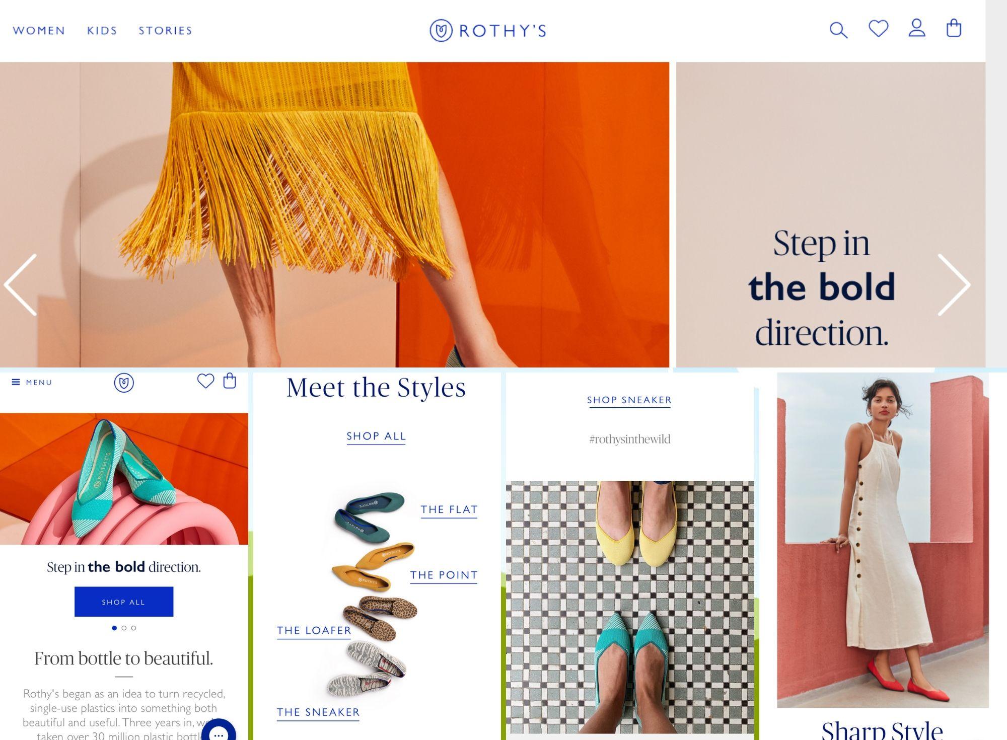 Rothys.com Example of Mobile & Desktop image Optimization